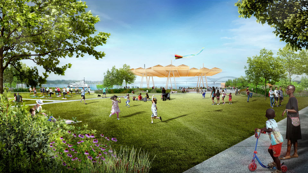 Rendering highlighting Tom Lee Park's Active Core, designed by Studio Gang and SCAPE.