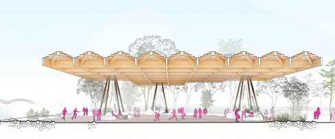 Tom Lee Park Canopy Section Sports, designed by Studio Gang and SCAPE