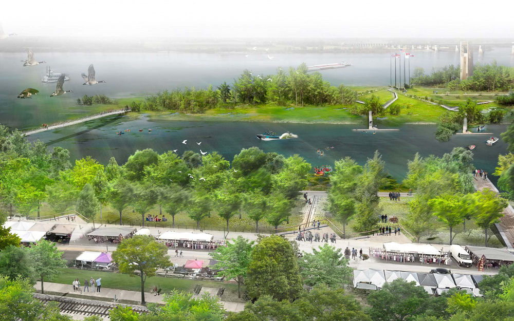 Memphis Riverfront Concept Birds Eye View Rendering designed by Studio Gang