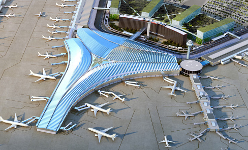 O'Hare Global Terminal Birds Eye View Rendering, architecture by Studio Gang