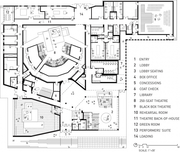 Writers Theatre Floor Plan Drawing, designed by Studio Gang