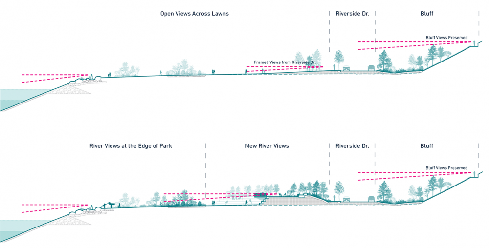 Tom Lee Park Views Diagram, designed by Studio Gang and SCAPE