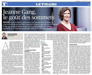 Le Figaro, Jeanne Gang, Studio Gang, Aqua Tower, Vista Tower, University of Chicago Center in Paris Project, Paris