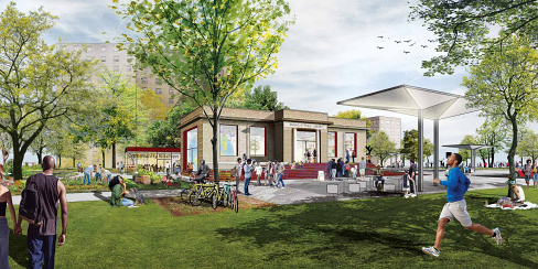 Neighborhood Activation Study Brownsville Library rendering, designed by Studio Gang