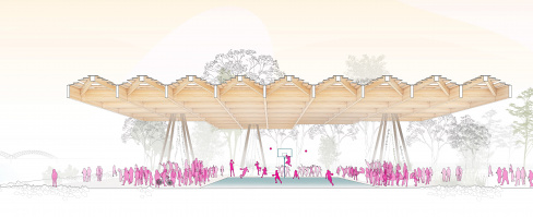 Tom Lee Park Canopy Section Game Day, designed by Studio Gang and SCAPE