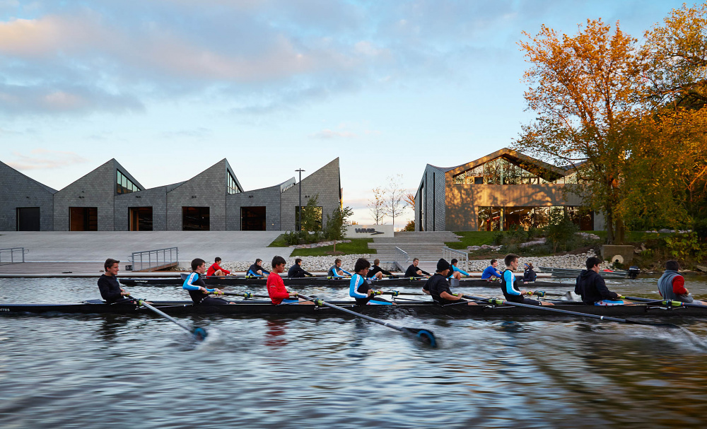 WMS Boathouse at Clark Park View from Chicago River, designed by Studio Gang