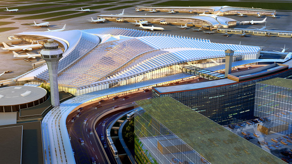 O'Hare Global Terminal Aerial Rendering, architecture by Studio Gang