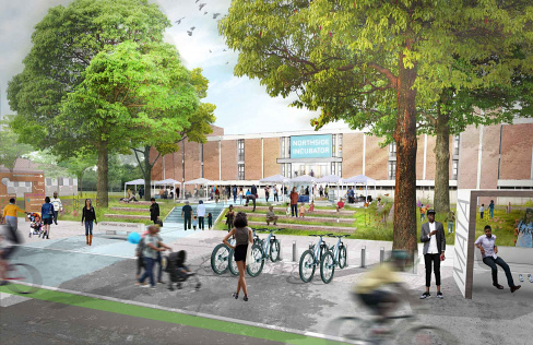 Neighborhood Schools Reuse Concept Rendering by Studio Gang