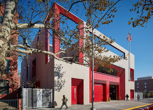 Rescue Company 2 Firehouse Exterior in Brownsville, Brooklyn; designed by Studio Gang