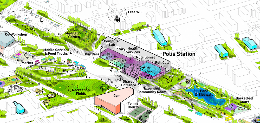 Polis Station Axon Diagram, designed by Studio Gang