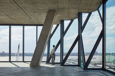 Solar Carve office building designed by Studio Gang, interior view of Hudson River in New York City